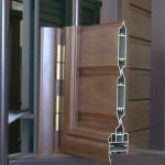 Sezione sportellone in alluminio finto legno