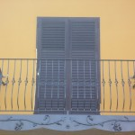Parapetto per balcone con roseto realizzato al plasma